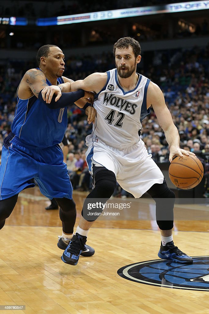 <a gi-track='captionPersonalityLinkClicked' href=/galleries/search?phrase=Kevin+Love&family=editorial&specificpeople=4212726 ng-click='$event.stopPropagation()'>Kevin Love</a> #42 of the Minnesota Timberwolves drives to the basket against the Dallas Mavericks on November 8, 2013 at Target Center in Minneapolis, Minnesota.