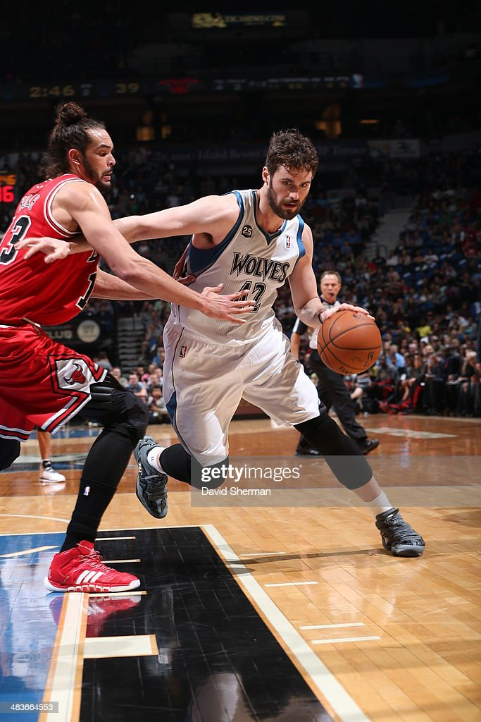 Kevin Love #42 of the Minnesota Timberwolves drives to the basket against the Chicago Bulls during the game on April 9, 2014 at Target Center in Minneapolis, Minnesota.