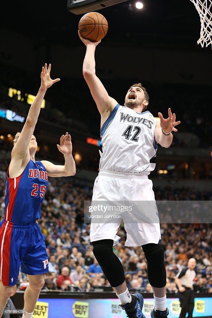 <a gi-track='captionPersonalityLinkClicked' href=/galleries/search?phrase=Kevin+Love&family=editorial&specificpeople=4212726 ng-click='$event.stopPropagation()'>Kevin Love</a> #42 of the Minnesota Timberwolves drives to the basket during the game against the Detroit Pistons on March 7, 2014 at Target Center in Minneapolis, Minnesota.