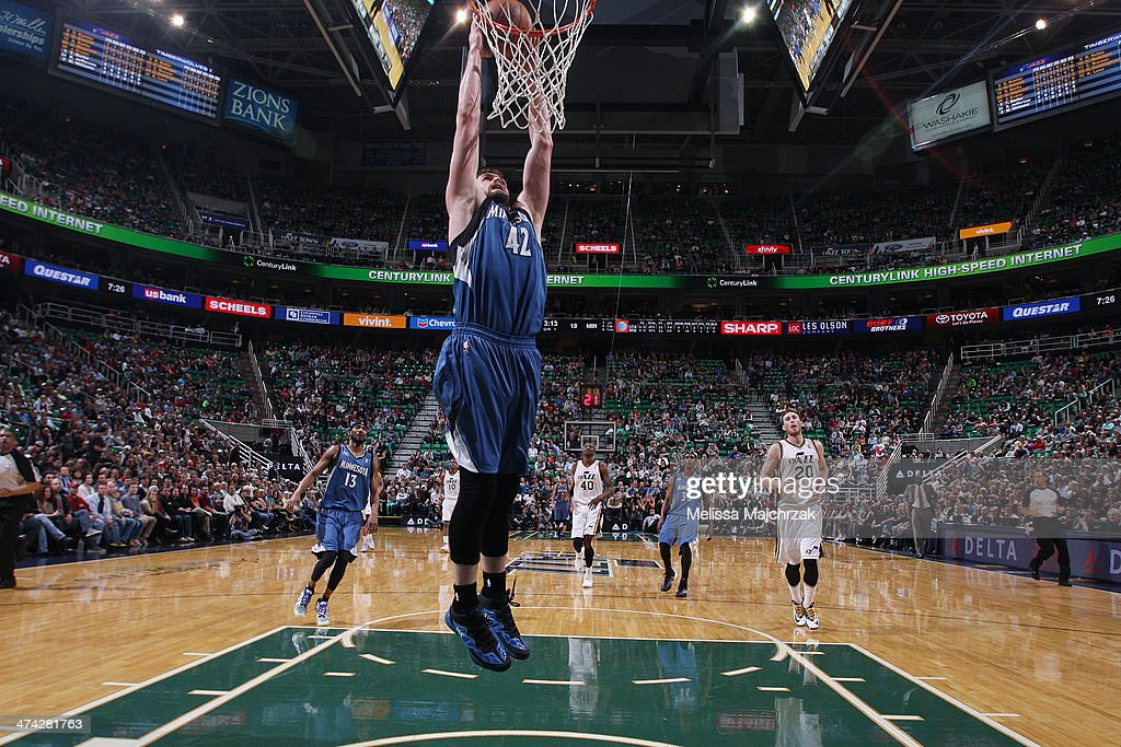 <a gi-track='captionPersonalityLinkClicked' href=/galleries/search?phrase=Kevin+Love&family=editorial&specificpeople=4212726 ng-click='$event.stopPropagation()'>Kevin Love</a> #42 of the Minnesota Timberwolves dunks against the Utah Jazz at EnergySolutions Arena on February 22, 2014 in Salt Lake City, Utah.