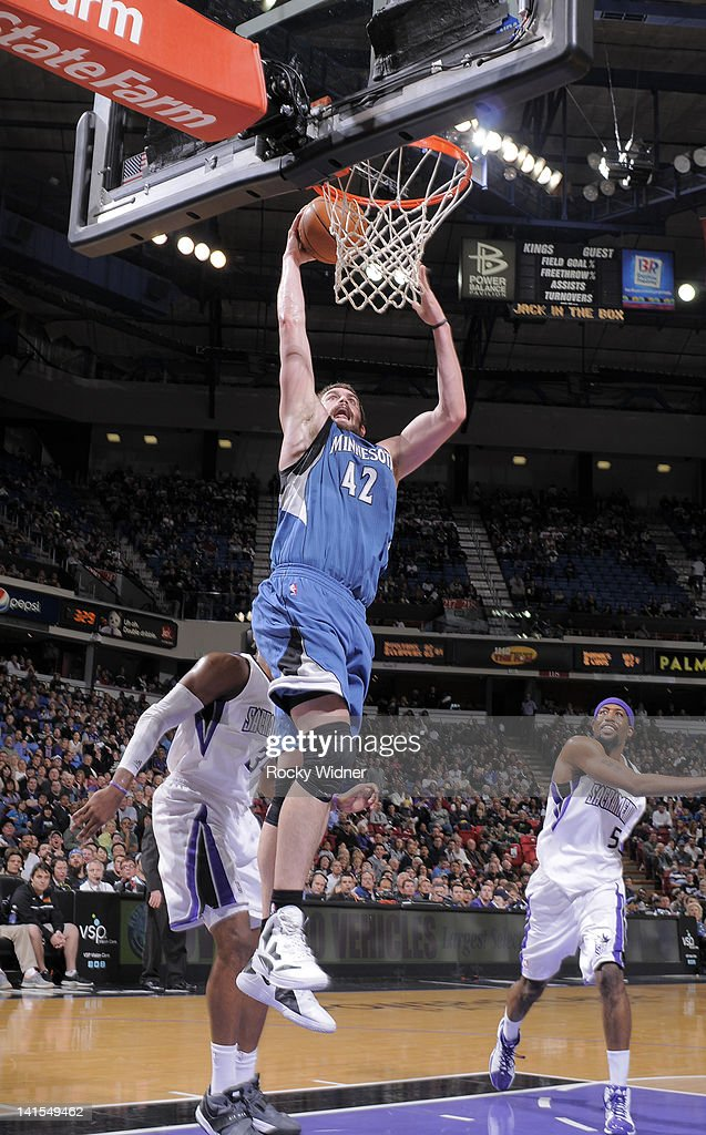 <a gi-track='captionPersonalityLinkClicked' href=/galleries/search?phrase=Kevin+Love&family=editorial&specificpeople=4212726 ng-click='$event.stopPropagation()'>Kevin Love</a> #42 of the Minnesota Timberwolves dunks the ball against the Sacramento Kings on March 18, 2012 at Power Balance Pavilion in Sacramento, California.