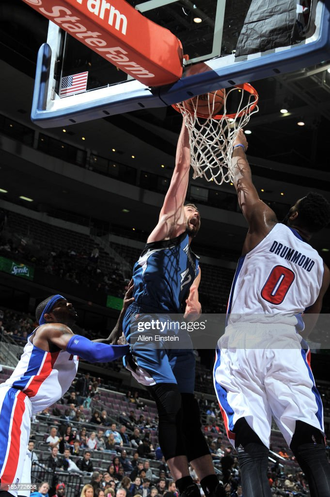 <a gi-track='captionPersonalityLinkClicked' href=/galleries/search?phrase=Kevin+Love&family=editorial&specificpeople=4212726 ng-click='$event.stopPropagation()'>Kevin Love</a> #42 of the Minnesota Timberwolves dunks the ball against the Detroit Pistons during the game on October 24, 2013 at The Palace of Auburn Hills in Auburn Hills, Michigan.