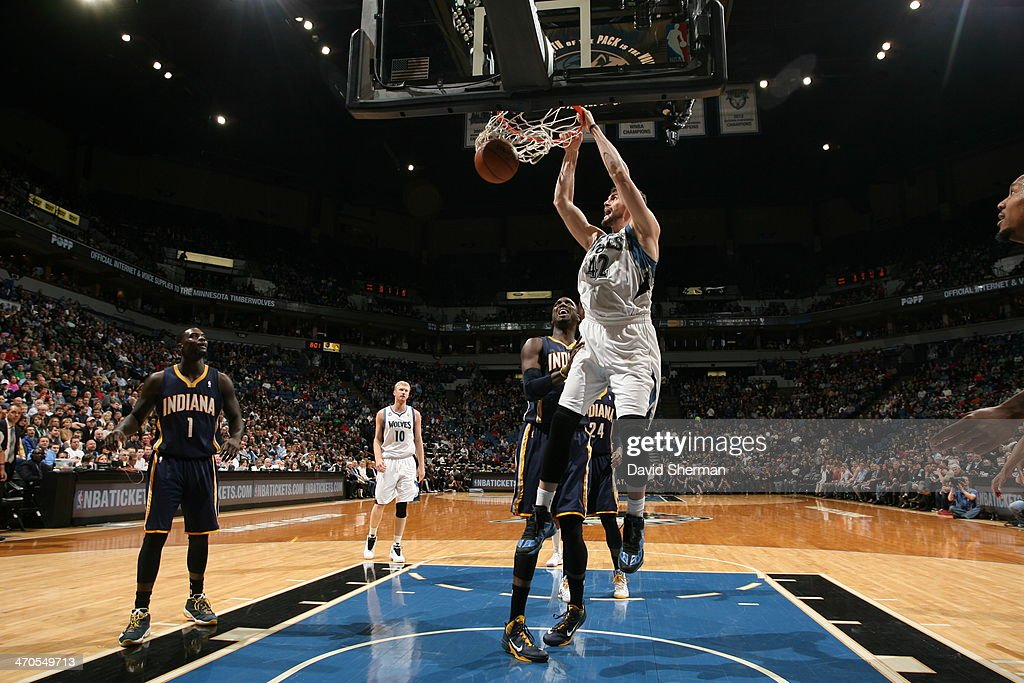 Kevin Love #42 of the Minnesota Timberwolves dunks the ball against the Indiana Pacers during the game on February 19, 2014 at Target Center in Minneapolis, Minnesota.