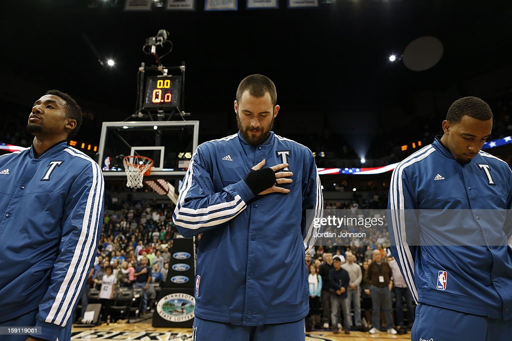 Kevin Love #42 of the Minnesota Timberwolves during the national anthem before the game against the Denver Nuggets on November 21, 2012 at Target Center in Minneapolis, Minnesota.