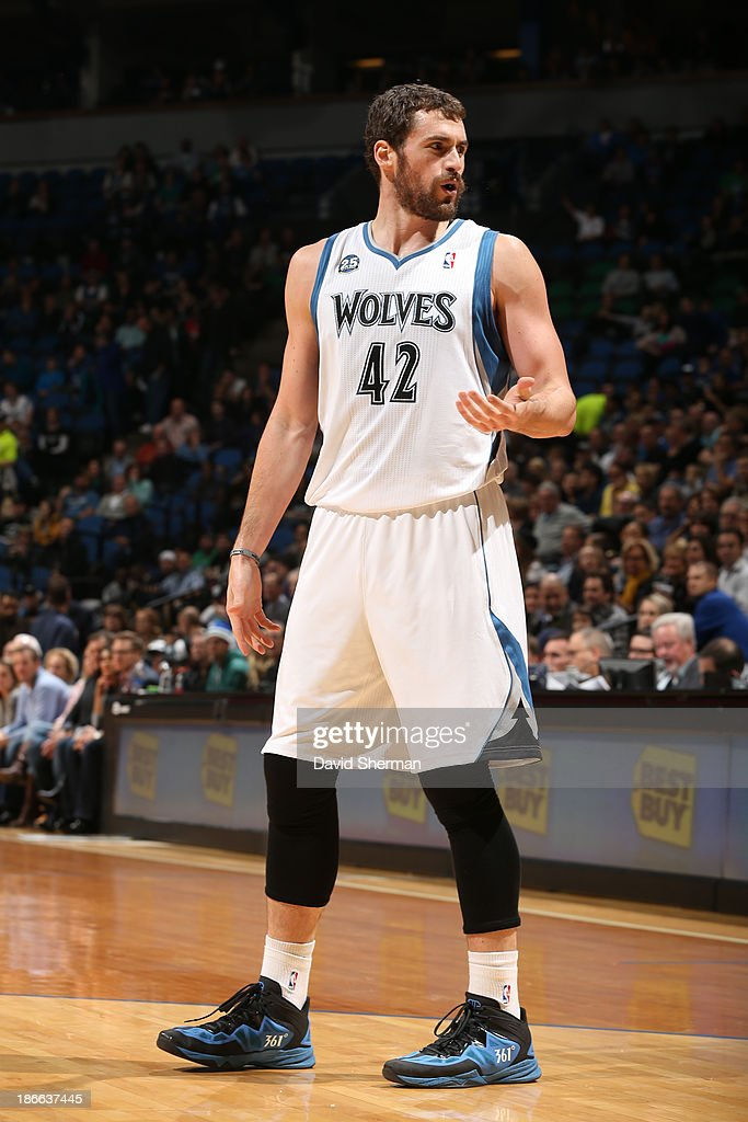 <a gi-track='captionPersonalityLinkClicked' href=/galleries/search?phrase=Kevin+Love&family=editorial&specificpeople=4212726 ng-click='$event.stopPropagation()'>Kevin Love</a> #42 of the Minnesota Timberwolves gestures during the game against the Oklahoma City Thunder during the game on November 1, 2013 at Target Center in Minneapolis, Minnesota.