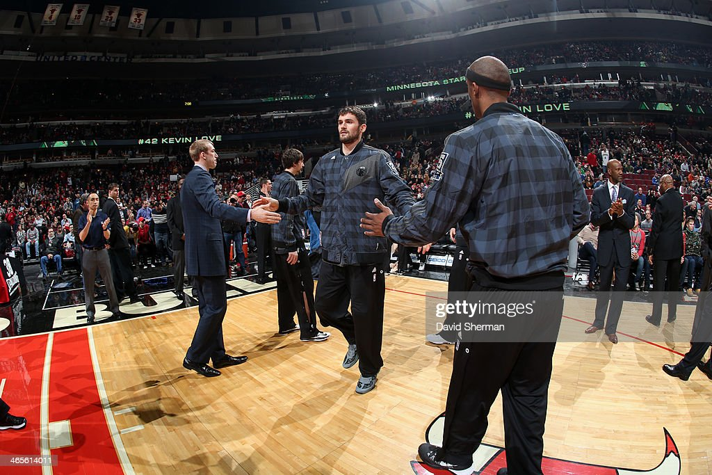 <a gi-track='captionPersonalityLinkClicked' href=/galleries/search?phrase=Kevin+Love&family=editorial&specificpeople=4212726 ng-click='$event.stopPropagation()'>Kevin Love</a> #42 of the Minnesota Timberwolves gets introduced before the game against the Chicago Bulls on JANUARY 27, 2014 at the United Center in Chicago, Illinois.