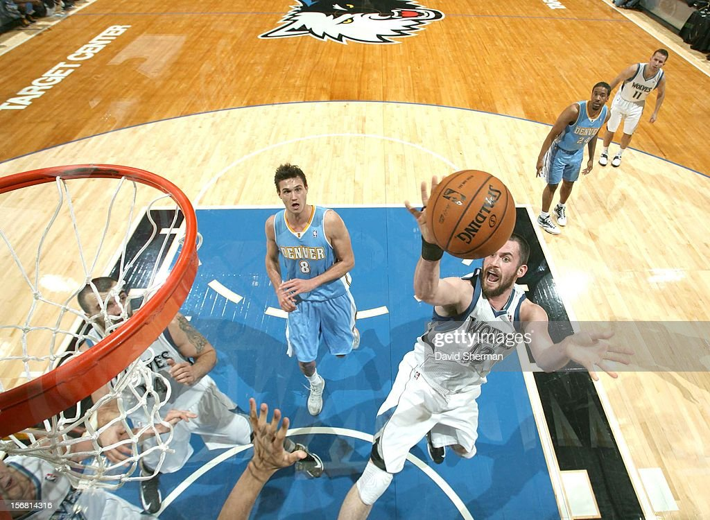 Kevin Love #42 of the Minnesota Timberwolves goes to the basket during the game between the Minnesota Timberwolves and the Denver Nuggets on November 21, 2012 at Target Center in Minneapolis, Minnesota.