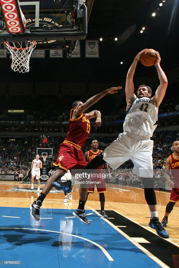 Kevin Love #42 of the Minnesota Timberwolves grabs a rebound against the Cleveland Cavaliers on November 13, 2013 at Target Center in Minneapolis, Minnesota.