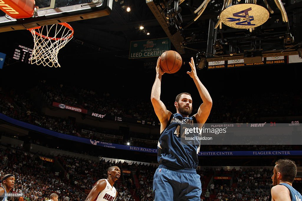 <a gi-track='captionPersonalityLinkClicked' href=/galleries/search?phrase=Kevin+Love&family=editorial&specificpeople=4212726 ng-click='$event.stopPropagation()'>Kevin Love</a> #42 of the Minnesota Timberwolves grabs a rebound during a game between the Minnesota Timberwolves and the Miami Heat on December 18, 2012 at American Airlines Arena in Miami, Florida.