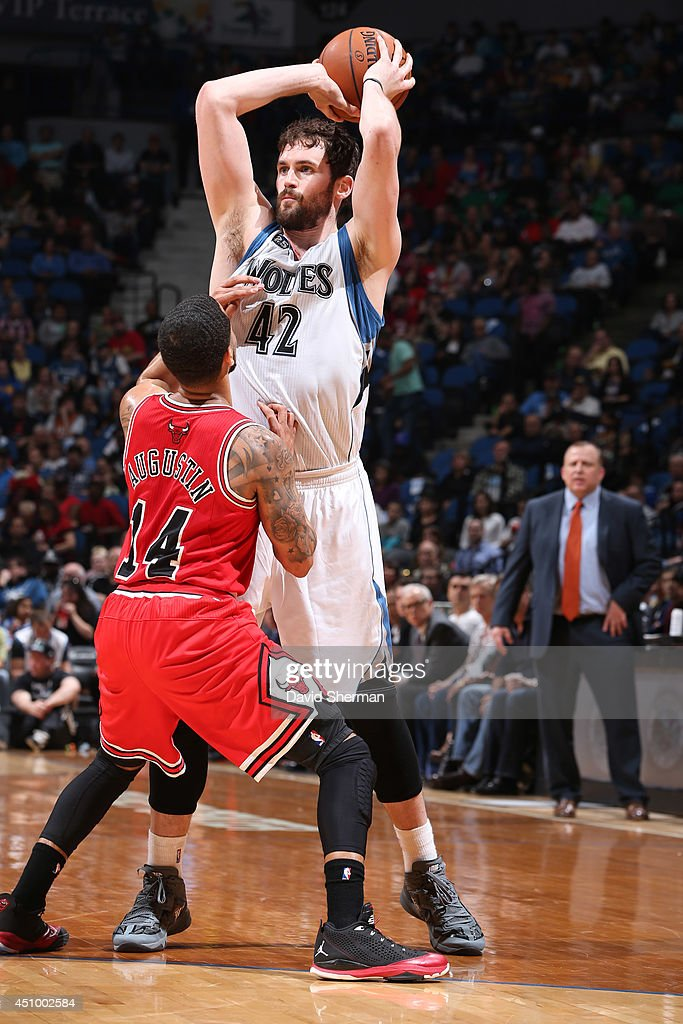 Kevin Love #42 of the Minnesota Timberwolves handles the ball against the Chicago Bulls during the game on April 9, 2014 at Target Center in Minneapolis, Minnesota.