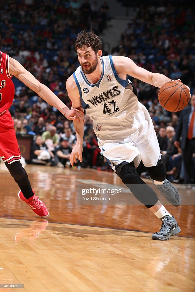 <a gi-track='captionPersonalityLinkClicked' href=/galleries/search?phrase=Kevin+Love&family=editorial&specificpeople=4212726 ng-click='$event.stopPropagation()'>Kevin Love</a> #42 of the Minnesota Timberwolves handles the ball against the Chicago Bulls during the game on April 9, 2014 at Target Center in Minneapolis, Minnesota.