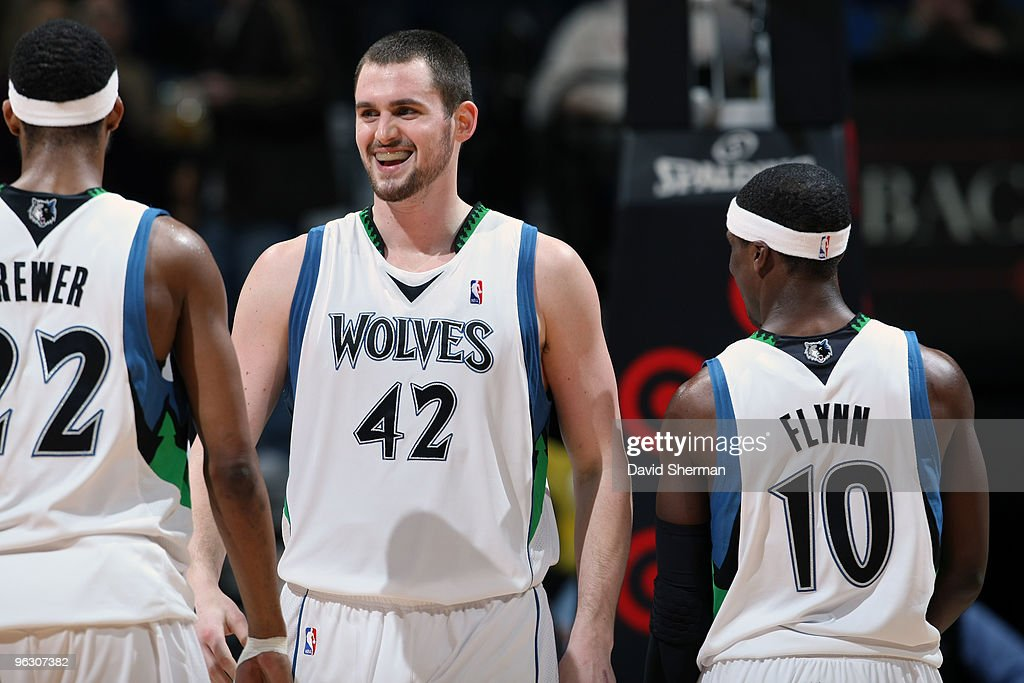 Kevin Love of the Minnesota Timberwolves is all smiles with a career high 25 points in their win against the New York Knicks during the game on...