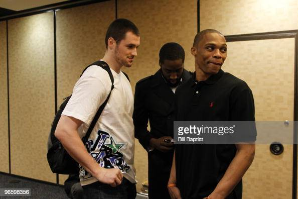 Kevin Love of the Minnesota Timberwolves James Harden and Russell Westbrook of the Oklahoma City Thunder joke around during NBA AllStar Media...