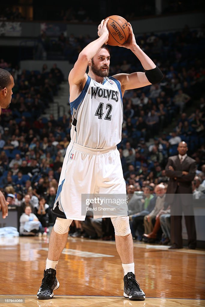 Kevin Love #42 of the Minnesota Timberwolves looks to pass against the Cleveland Cavaliers during the game on December 7, 2012 at Target Center in Minneapolis, Minnesota.