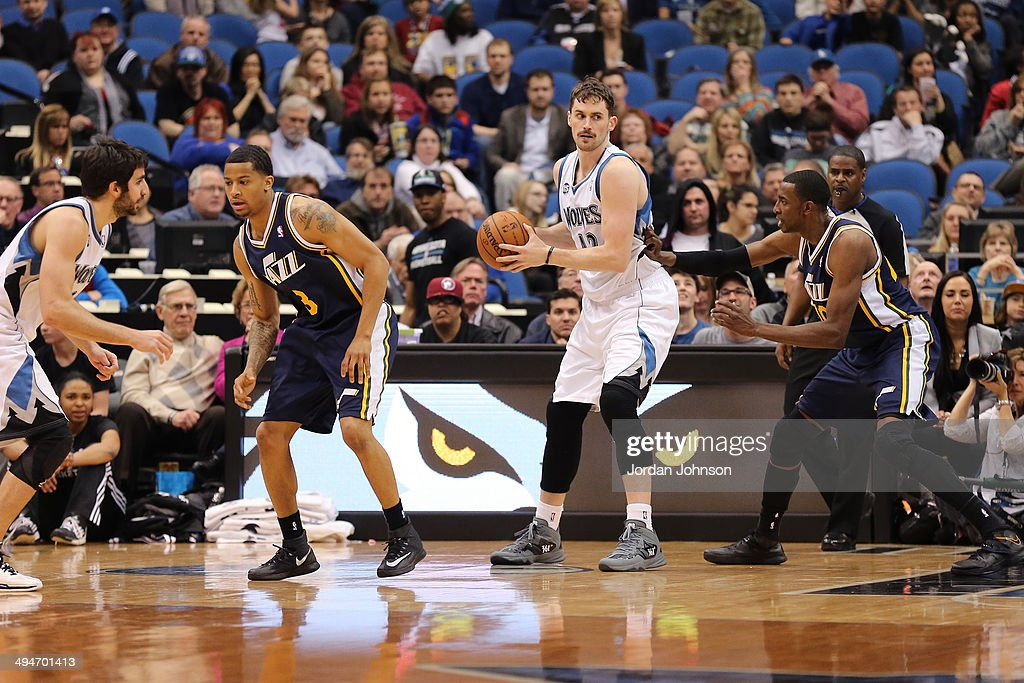 <a gi-track='captionPersonalityLinkClicked' href=/galleries/search?phrase=Kevin+Love&family=editorial&specificpeople=4212726 ng-click='$event.stopPropagation()'>Kevin Love</a> #42 of the Minnesota Timberwolves looks to pass the ball against the Utah Jazz on April 16, 2014 at Target Center in Minneapolis, Minnesota.