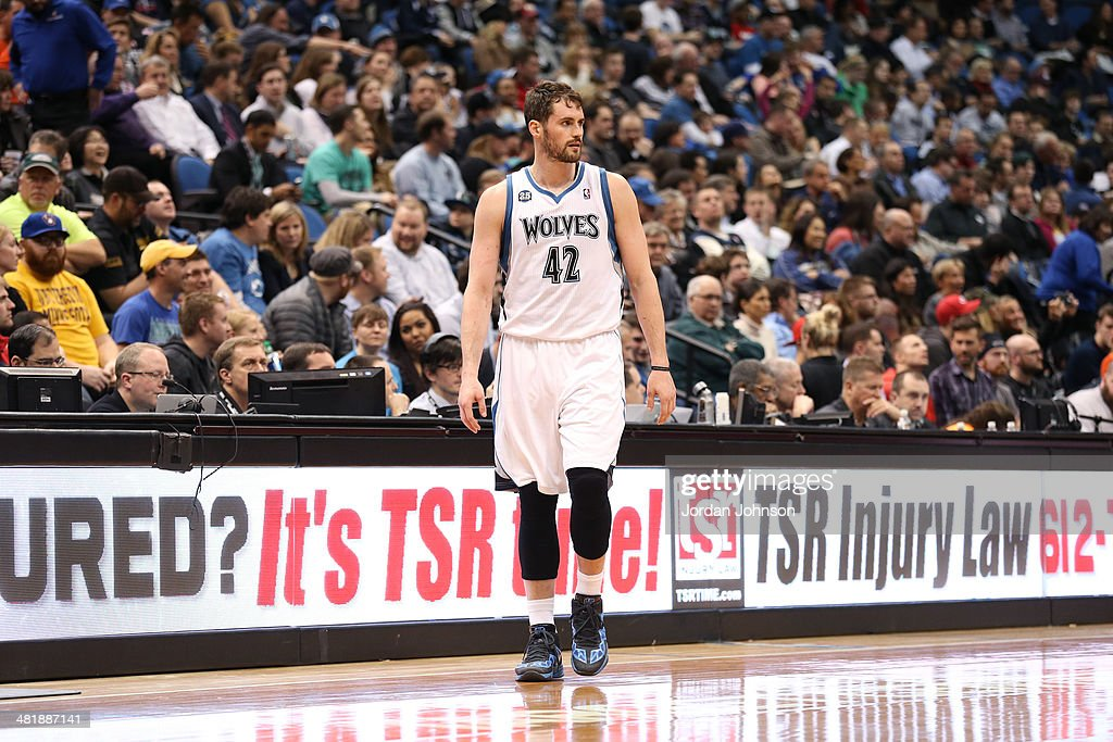 Kevin Love #42 of the Minnesota Timberwolves on the court during the game against the Milwaukee Bucks on March 11, 2014 at Target Center in Minneapolis, Minnesota.