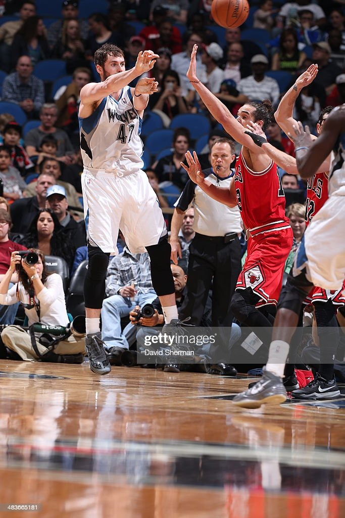Kevin Love #42 of the Minnesota Timberwolves passes the ball against the Chicago Bulls during the game on April 9, 2014 at Target Center in Minneapolis, Minnesota.