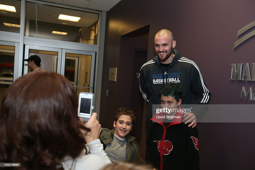 Kevin Love of the Minnesota Timberwolves poses for a picture before trick or treating with kids who have cancer or other life-threatening illness, from Hope Kids, and their families on October 31, 2012 at the Mall of America in Bloomington, Minnesota.