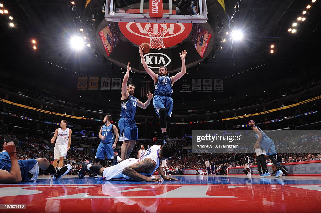 <a gi-track='captionPersonalityLinkClicked' href=/galleries/search?phrase=Kevin+Love&family=editorial&specificpeople=4212726 ng-click='$event.stopPropagation()'>Kevin Love</a> #42 of the Minnesota Timberwolves rebounds against <a gi-track='captionPersonalityLinkClicked' href=/galleries/search?phrase=Matt+Barnes+-+Basketball+Player&family=editorial&specificpeople=202880 ng-click='$event.stopPropagation()'>Matt Barnes</a> #22 of the Los Angeles Clippers at Staples Center on November 11, 2013 in Los Angeles, California.
