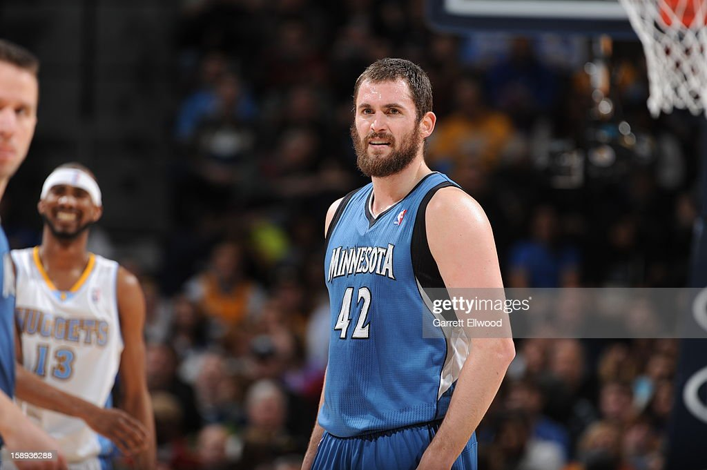 Kevin Love #42 of the Minnesota Timberwolves rests during a stop in play versus the Denver Nuggets on January 3, 2013 at the Pepsi Center in Denver, Colorado.