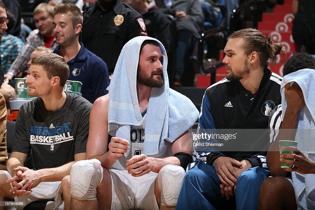 Kevin Love #42 of the Minnesota Timberwolves rests on the bench against the Cleveland Cavaliers during the game on December 7, 2012 at Target Center in Minneapolis, Minnesota.
