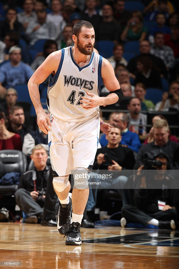 Kevin Love #42 of the Minnesota Timberwolves runs back after scoring a basket against the Cleveland Cavaliers during the game on December 7, 2012 at Target Center in Minneapolis, Minnesota.