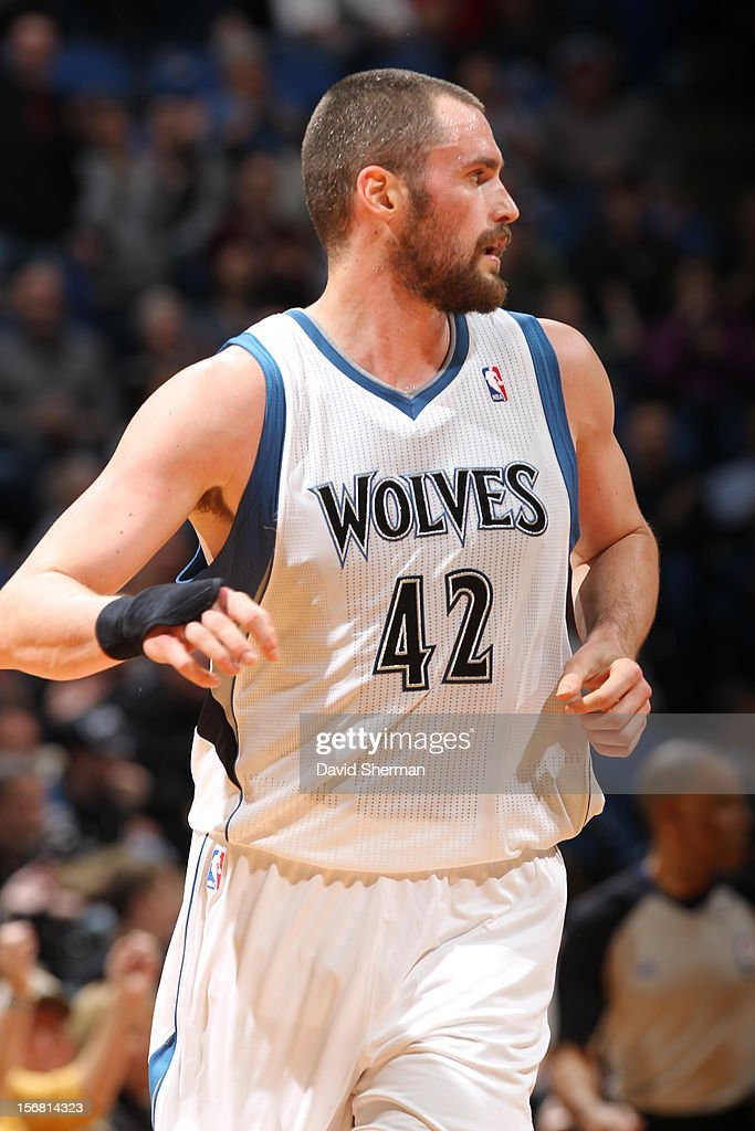 Kevin Love #42 of the Minnesota Timberwolves runs during the game between the Minnesota Timberwolves and the Denver Nuggets on November 21, 2012 at Target Center in Minneapolis, Minnesota.
