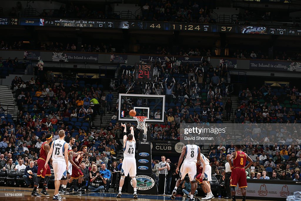 Kevin Love #42 of the Minnesota Timberwolves shoots a foul shot against # the Cleveland Cavaliers during the game on December 7, 2012 at Target Center in Minneapolis, Minnesota.