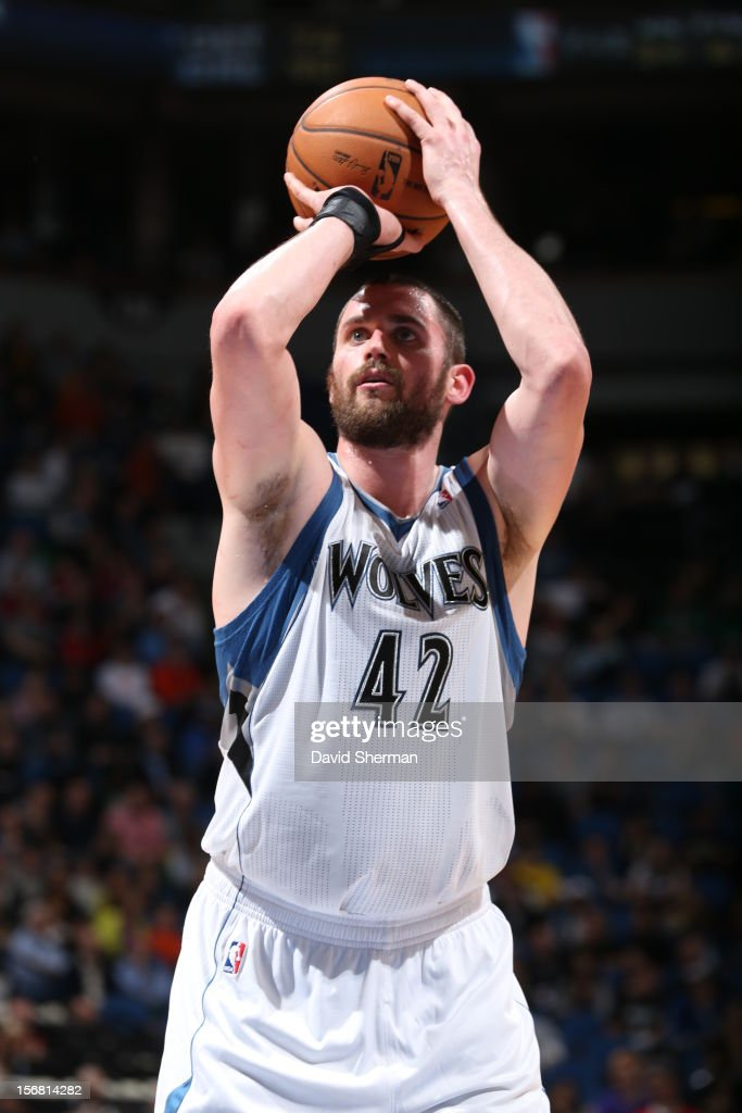 Kevin Love #42 of the Minnesota Timberwolves shoots a free throw during the game between the Minnesota Timberwolves and the Denver Nuggets on November 21, 2012 at Target Center in Minneapolis, Minnesota.