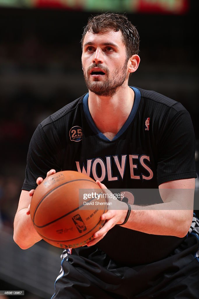 <a gi-track='captionPersonalityLinkClicked' href=/galleries/search?phrase=Kevin+Love&family=editorial&specificpeople=4212726 ng-click='$event.stopPropagation()'>Kevin Love</a> #42 of the Minnesota Timberwolves shoots a free throw during the game against the Chicago Bulls on JANUARY 27, 2014 at the United Center in Chicago, Illinois.
