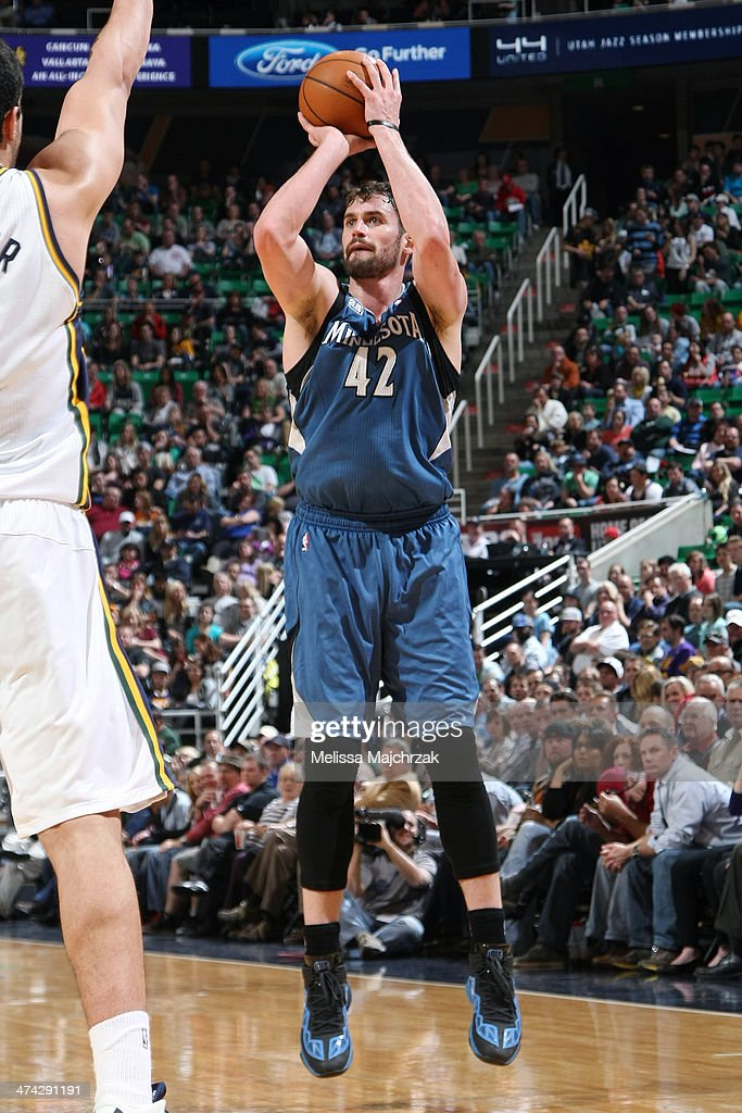 Kevin Love #42 of the Minnesota Timberwolves shoots against the Utah Jazz at EnergySolutions Arena on February 22, 2014 in Salt Lake City, Utah.
