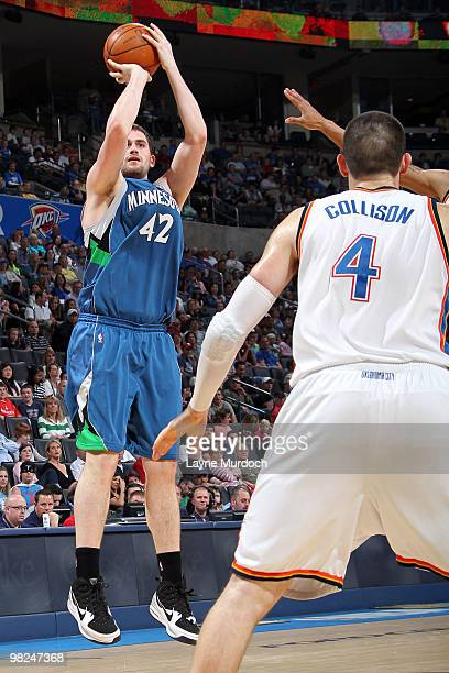 Kevin Love of the Minnesota Timberwolves shoots over Nick Collison of the Oklahoma City Thunder on April 4 2010 at the Ford Center in Oklahoma City...