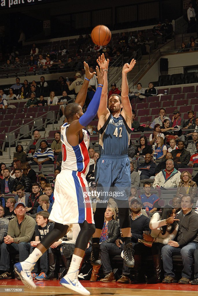 <a gi-track='captionPersonalityLinkClicked' href=/galleries/search?phrase=Kevin+Love&family=editorial&specificpeople=4212726 ng-click='$event.stopPropagation()'>Kevin Love</a> #42 of the Minnesota Timberwolves shoots the ball against the Detroit Pistons during the game on October 24, 2013 at The Palace of Auburn Hills in Auburn Hills, Michigan.