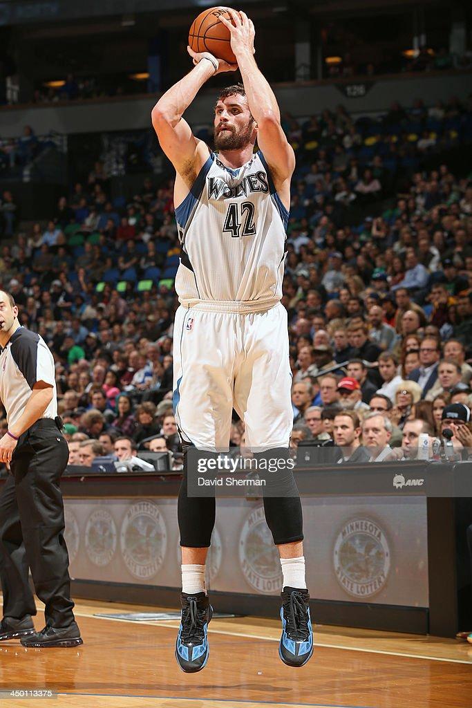 Kevin Love #42 of the Minnesota Timberwolves shoots the ball against the Boston Celtics on November 16, 2013 at Target Center in Minneapolis, Minnesota.