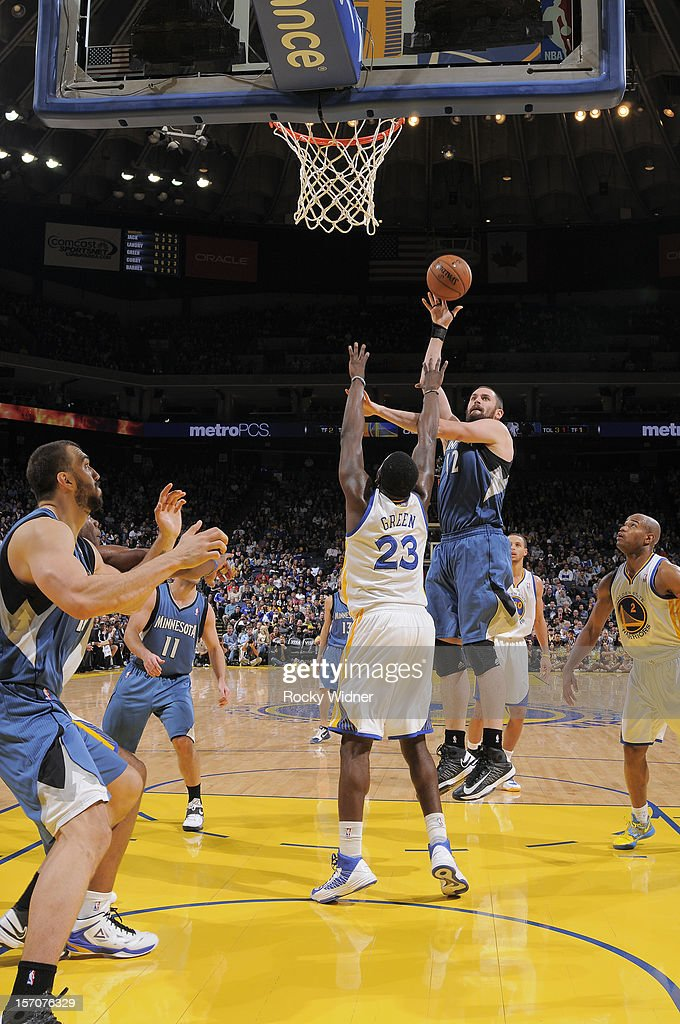 <a gi-track='captionPersonalityLinkClicked' href=/galleries/search?phrase=Kevin+Love&family=editorial&specificpeople=4212726 ng-click='$event.stopPropagation()'>Kevin Love</a> #42 of the Minnesota Timberwolves shoots the ball over <a gi-track='captionPersonalityLinkClicked' href=/galleries/search?phrase=Draymond+Green&family=editorial&specificpeople=5628054 ng-click='$event.stopPropagation()'>Draymond Green</a> #23 of the Golden State Warriors on November 24, 2012 at Oracle Arena in Oakland, California.