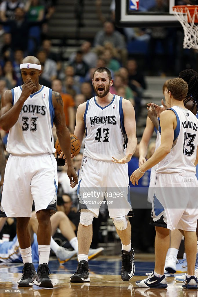 Kevin Love #42 of the Minnesota Timberwolves shows emotion during the game against the Denver Nuggets on November 21, 2012 at Target Center in Minneapolis, Minnesota.