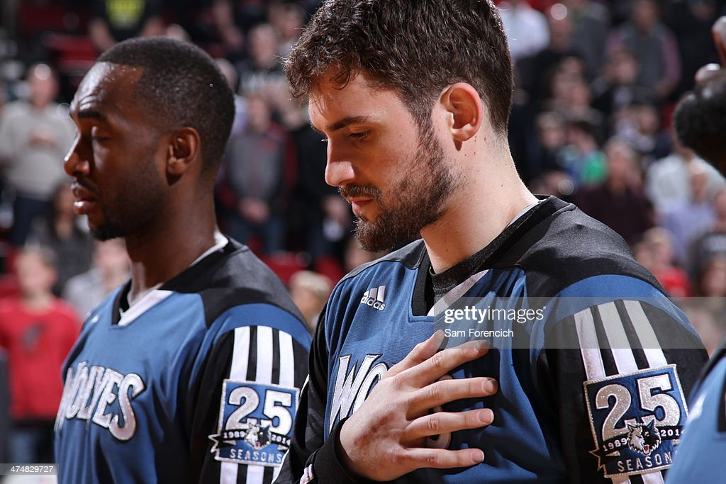 <a gi-track='captionPersonalityLinkClicked' href=/galleries/search?phrase=Kevin+Love&family=editorial&specificpeople=4212726 ng-click='$event.stopPropagation()'>Kevin Love</a> #42 of the Minnesota Timberwolves stands on the court before the game against the Portland Trail Blazers on February 23, 2014 at the Moda Center Arena in Portland, Oregon.