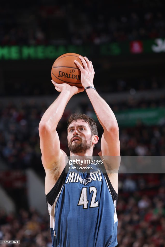 Kevin Love #42 of the Minnesota Timberwolves takes a free-throw during a game against the Portland Trail Blazers on February 23, 2014 at the Moda Center Arena in Portland, Oregon.