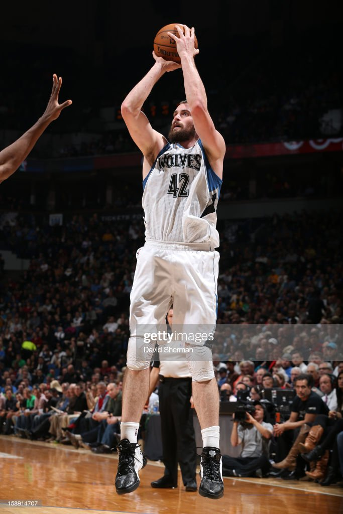 <a gi-track='captionPersonalityLinkClicked' href=/galleries/search?phrase=Kevin+Love&family=editorial&specificpeople=4212726 ng-click='$event.stopPropagation()'>Kevin Love</a> #42 of the Minnesota Timberwolves takes a shot against the Oklahoma City Thunder on December 20, 2012 at Target Center in Minneapolis, Minnesota.