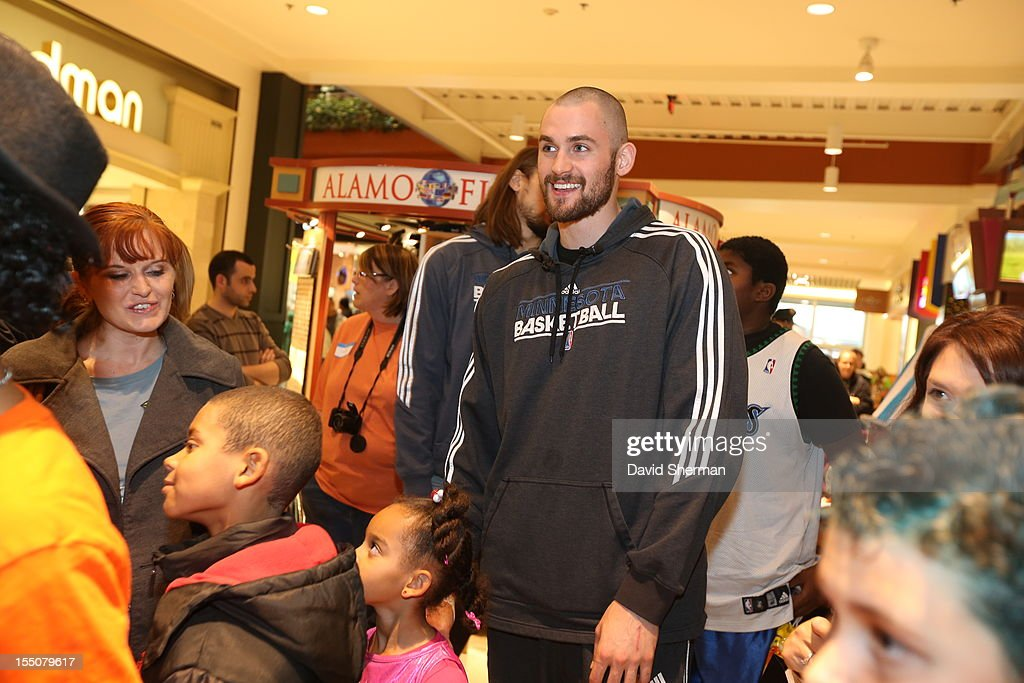 Kevin Love of the Minnesota Timberwolves trick or treat with kids who have cancer or other life-threatening illness, from Hope Kids, and their families on October 31, 2012 at the Mall of America in Bloomington, Minnesota.