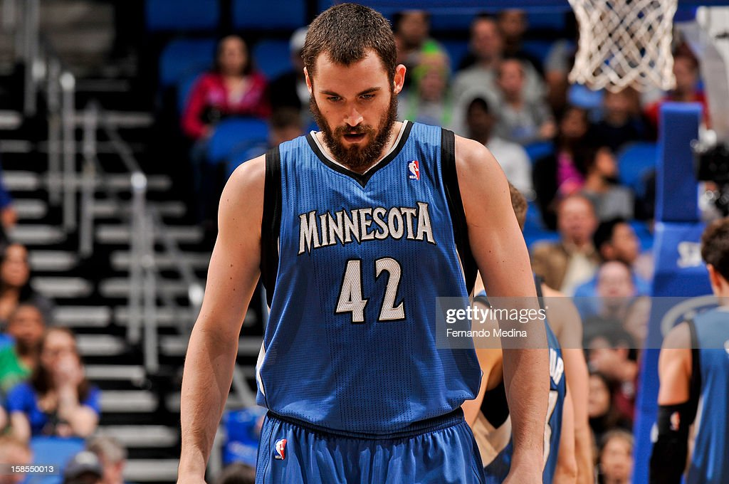 Kevin Love #42 of the Minnesota Timberwolves waits to resume action against the Orlando Magic on December 17, 2012 at Amway Center in Orlando, Florida.