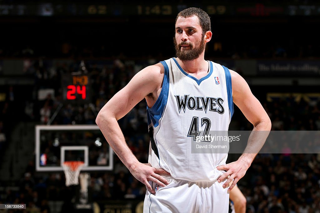 Kevin Love #42 of the Minnesota Timberwolves waits to resume action against the Houston Rockets on December 26, 2012 at Target Center in Minneapolis, Minnesota.