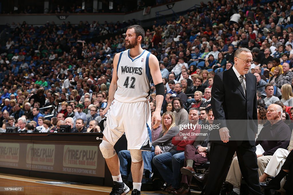 Kevin Love #42 of the Minnesota Timberwolves walks back onto the court after speaking with the headcoach during the game on December 7, 2012 at Target Center in Minneapolis, Minnesota.