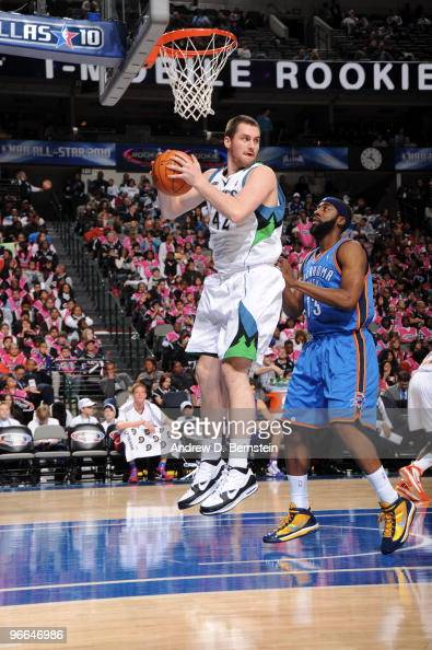 Kevin Love of the Sophmore team rebounds against James Harden of the Rookie team during 2009 TMobile Rookie Challenge and Youth Jam on February 12...