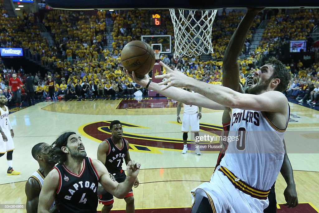 Kevin Love scores as the Toronto Raptors lose the Cleveland Cavaliers in game 5 of the NBA Conference Finals at Quicken Loans Arena in Cleveland. May 25, 2016.