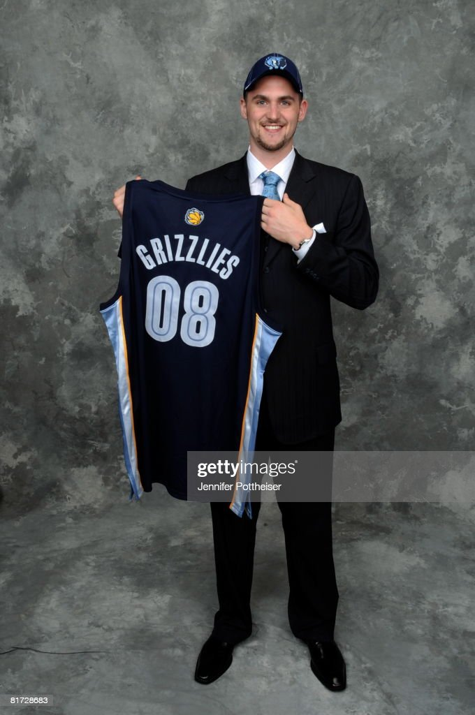 Kevin Love selected number five overall by the Memphis Grizzlies poses for a portrait backstage during the 2008 NBA Draft on June 26, 2008 at the WaMu Theatre at Madison Square Garden in New York City.