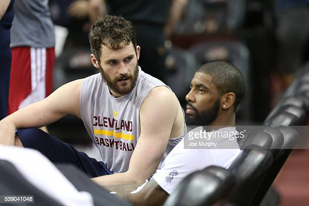 Kevin Love talks with Kyrie Irving of the Cleveland Cavaliers during practice and media availability as part of the 2016 NBA Finals on June 9 2016 at...