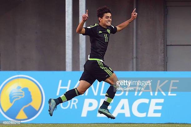 Kevin Magana of Mexico celebrates his team's first goal during the FIFA U17 World Cup Chile 2015 Group C match between Mexico and Argentina at...