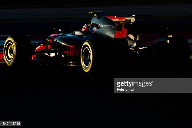Kevin Magnussen of Denmark and Haas during day three of Formula One winter testing at Circuit de Catalunya on March 1 2017 in Montmelo Spain