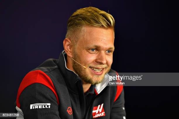 Kevin Magnussen of Denmark and Haas F1 talks in the Drivers Press Conference during previews ahead of the Formula One Grand Prix of Hungary at...